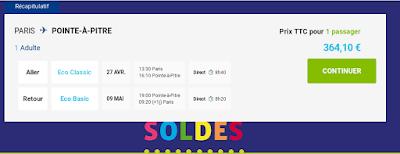 Vol Paris / Pointe a Pitre avec Bagage 364€
