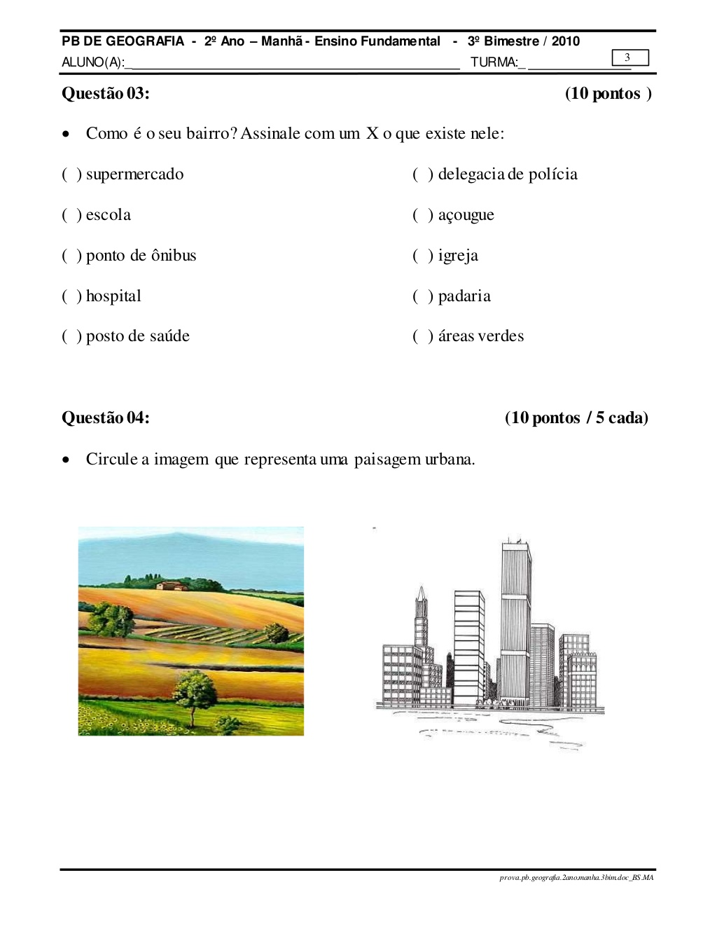 Prova de Geografia 2 Ano Ensino Fundamental