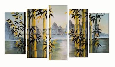 http://www.cuadricer.com/cuadros-pintados-a-mano-por-colores/cuadros-verdes-pistacho-manzana/cuadros-ca-as-bambu-modernos-2293-mar-monta-as-dormitorios-salones.html