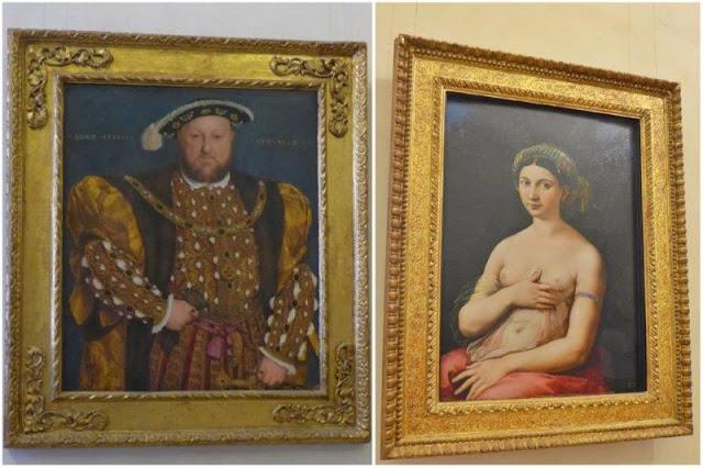Enrique VIII de Holbein y la Fornarina de Giuilio Romano en el Palazzo Barberini de Roma
