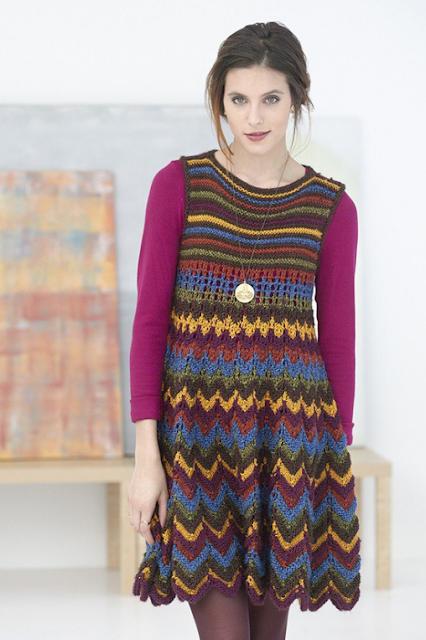 The Vintage Pattern Files: Free 1960's Knitting Pattern - Zig Zag Dress