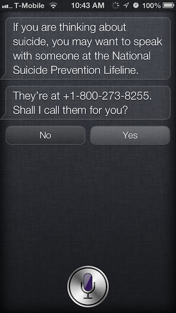 Triggering Siri's Suicide Help