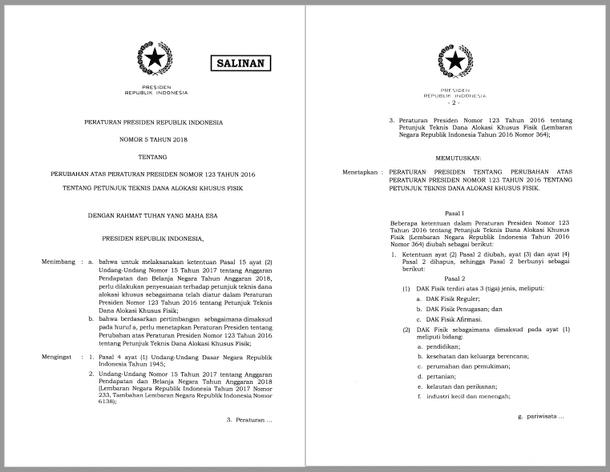 PEPRES Nomor 5 Tahun 2018 Tentang Perubahan Atas Peraturan Presiden Nomor 123 Tahun 2016 Tentang Petunjuk Teknis Dana Alokasi Khusus Fisik