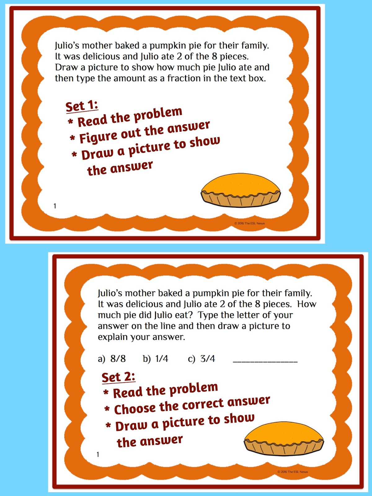 Teaching about Thanksgiving in math class is easy when you use these task cards in printable and Google Drive versions. | The ESL Connection