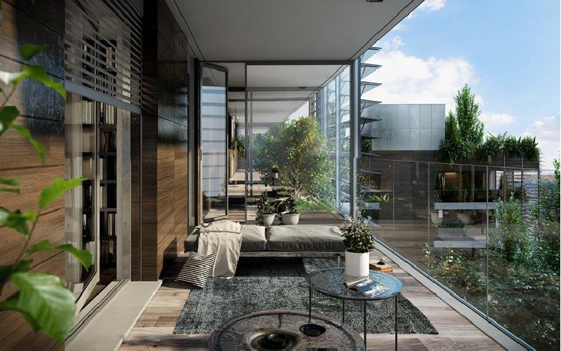 Giardini d inverno il nuovo edificio residenziale di for Interni di appartamenti