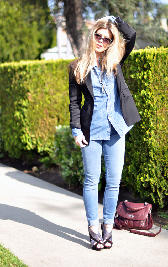 denim on denim with black blazer