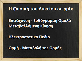 Μαθήματα ΦΥΣΙΚΗΣ Α΄ και Β΄ Λυκείου, σε pptx.
