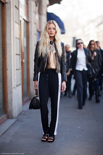 spring 2016, spring trends, track pants, side stripe pants, street style, athleisure, leather jacket