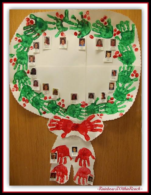 Painted Handprint Wreath Classroom Door Decoration for Christmas via RainbowsWithinReach
