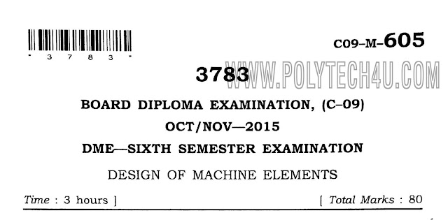 design of machine elements old question papers c-09 dme oct/nov-2015