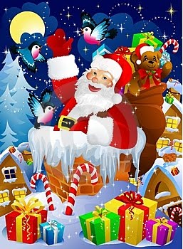 Santa Claus Smiling Picture With Gifts And Teddy Christmas Photo