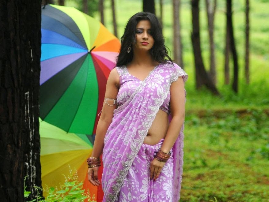 Actress Nisha Shah Hot Navel Show In Saree Stills