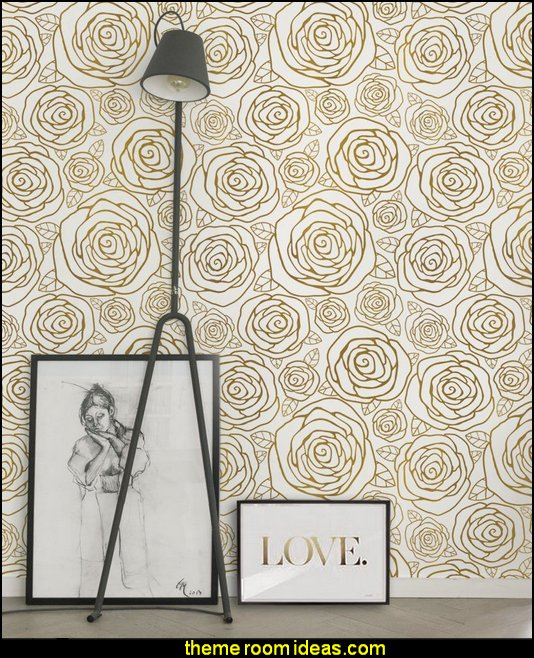 Rose Gold Wallpaper   wall decorations - wall art prints - wall stencils - wall murals - wall decals - wall decor - Lighted Letters - wall letters - Storage wall shelves - Marquee Lights - picture frames