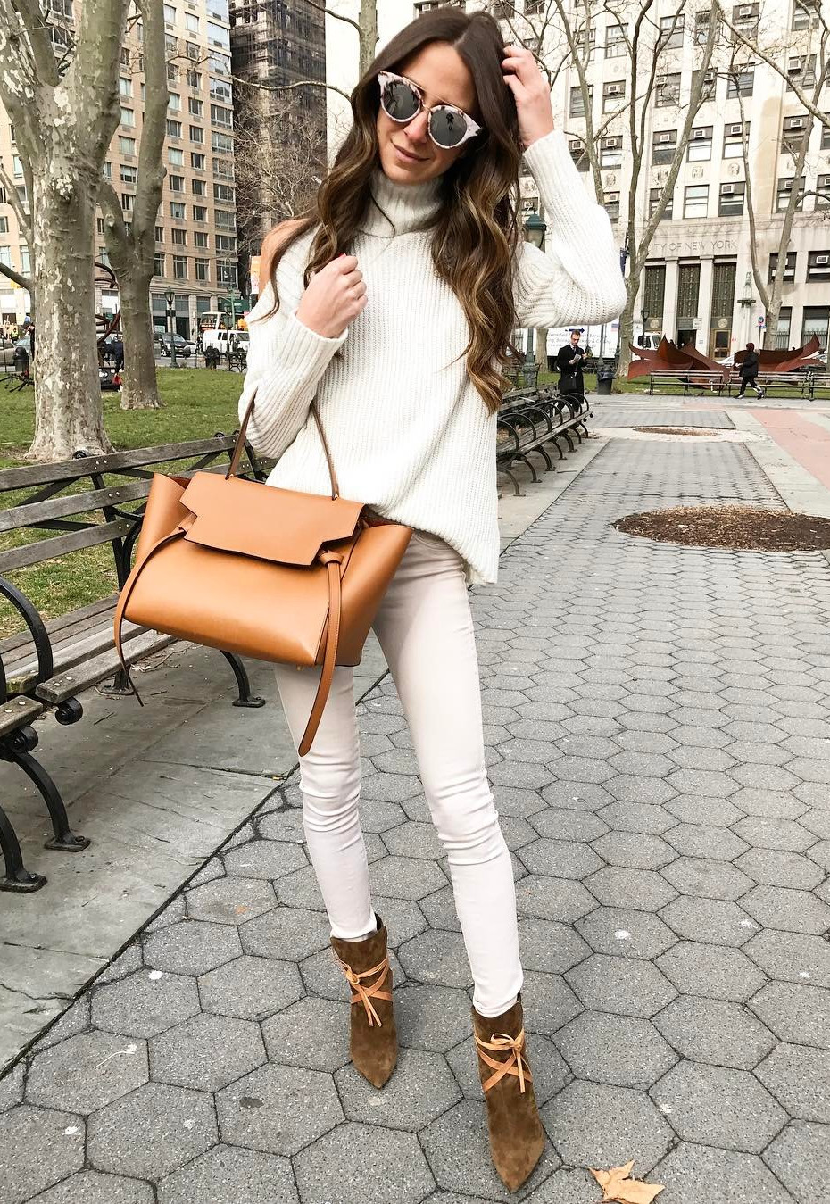 White knits + brown details