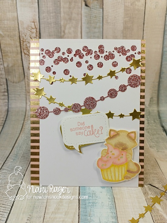 Cat and cupcake Birthday card by Naki Rager| Newton Loves Cake Stamp Set by Newton's Nook Designs