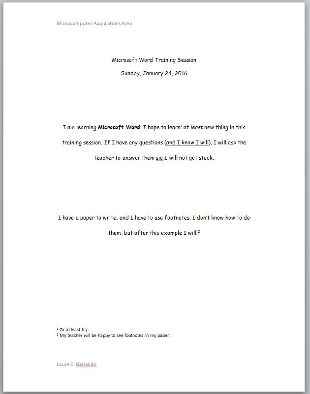 MS Word Exercises