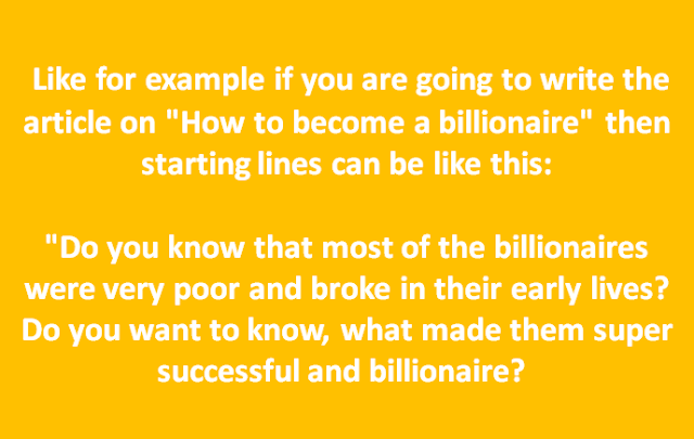 Billionaire Example in Article Writing