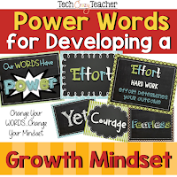 Resource for 23 Power Words to help your students learn the Growth Mindset