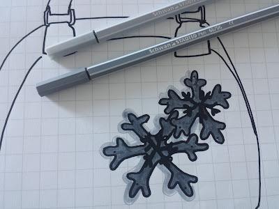 bozzetto borsa feltro pasta polimerica snow fiocchi di neve