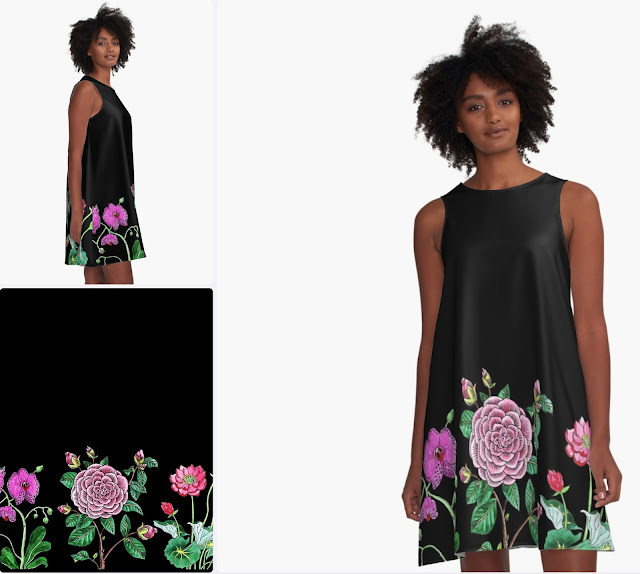 Botanical Flowers Black Dress Watercolor pattern
