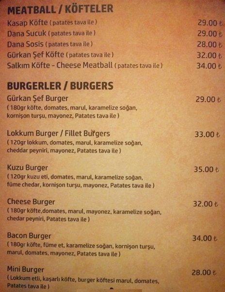 Gurkan Sef Steakhouse Fiyat Listesi Perakende Kulis