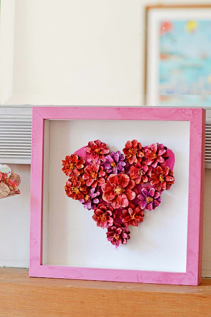 Valentine heart wall art painted pine cones