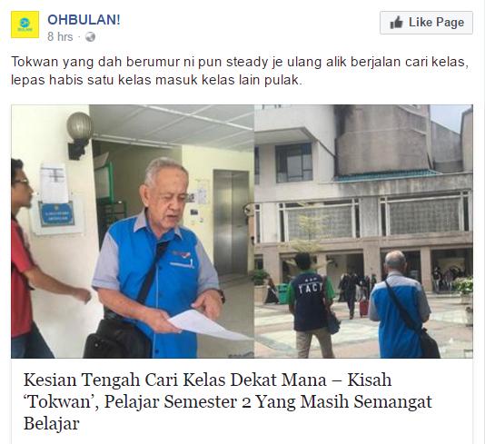 Viral Kisah 'Tokwan' Yang Masih Belajar
