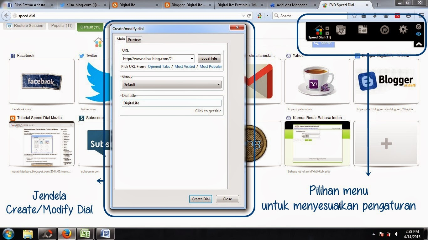 Memasang Speed Dial Add-ons Mozilla Firefox.