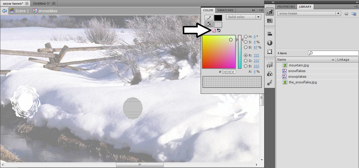 ADOBE FLASH CS5: How to make falling snow flakes