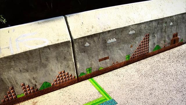 Mario Bros Comes Alive As Graffiti On A Sidewalk And How It Was Done If It S Hip It S Here