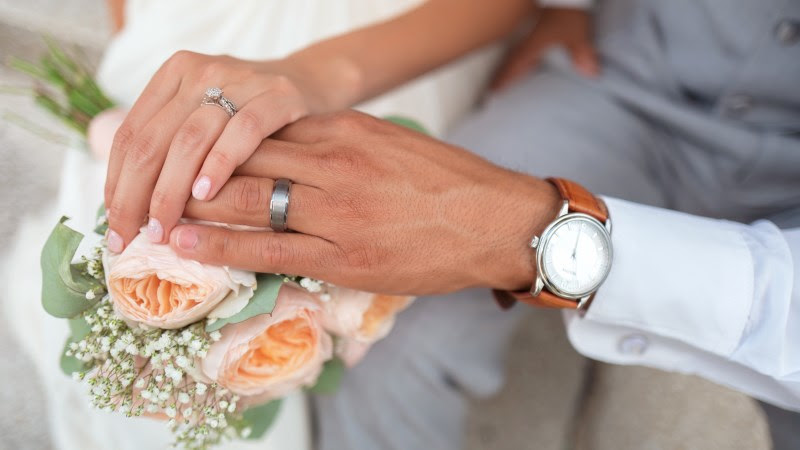 Wedding Day, Rings and Bridal Bouquet