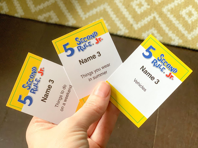 Example game cards from 5 Second Rule Jr