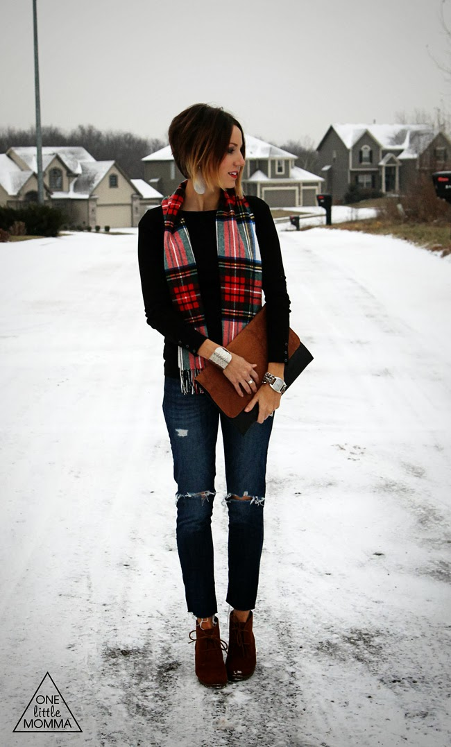 Plaid scarf paired with a basic tee, destroyed denim and ankle boots.