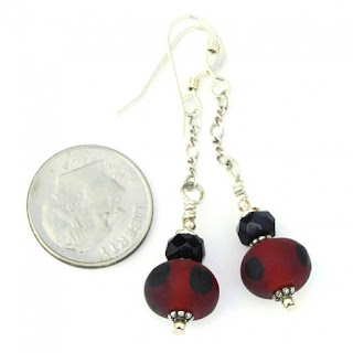 handmade red and black earrings gift for women