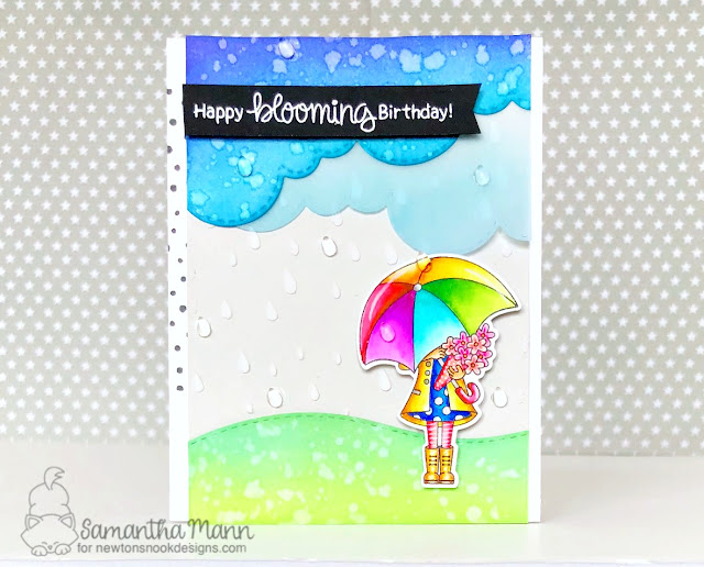 Happy Blooming Birthday Card by Samantha Mann, Newton's Nook Designs, handmade card, umbrella, rain, stencil, embossing paste, rainy day, #newtonsnook, #zigcleancolorrealbrushmarkers