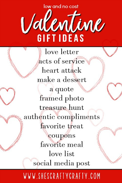 Low and No cost Valentine Gift Ideas from www.shescraftycrafty.com