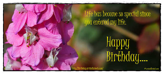 Birthday Card, Life, special, entered, my life, flower, Pink flower