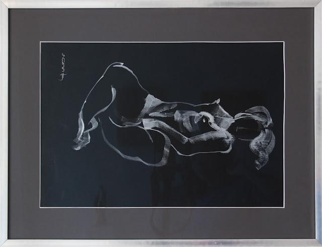 peinture acrylique nacrée sur papier noir