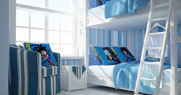 Kamar Tidur Dengan Desain Dinding Garis Garis Rancangan Desain