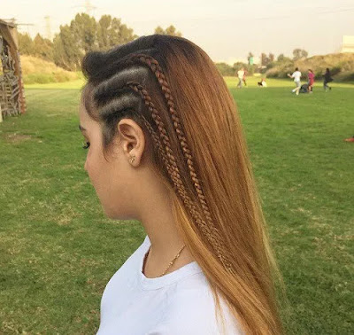 Teenage Triple-Braid Hairdo