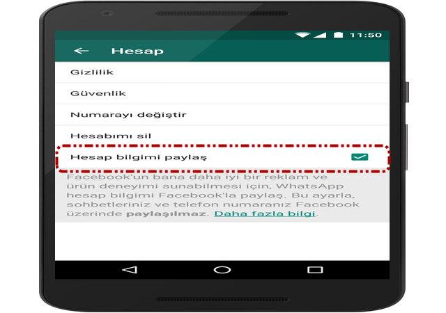 WhatsApp bilgi verilerinizi Facebook ile paylaşmayı durdurabilirsiniz: