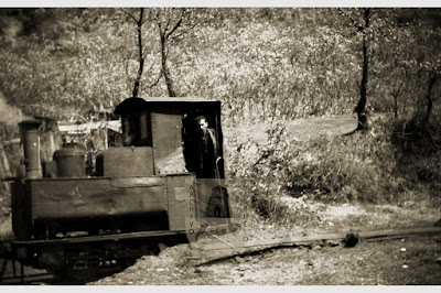 """Locomotora Coulliet """"La maquinilla"""" e ntrando en Perajido."""
