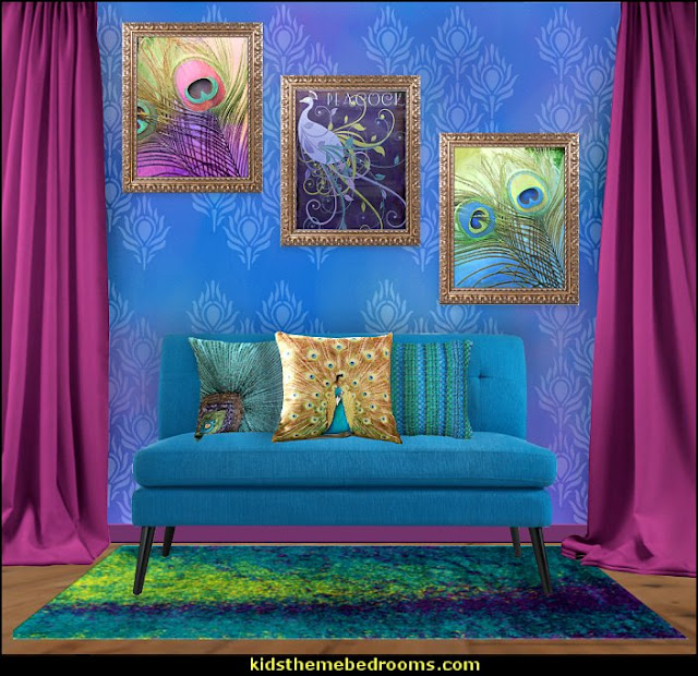 peacock themed sitting room  Peacock theme decorating - peacock theme decor - exotic style decorating - Peacock Decorations - Peacock Nursery - peacock wall decoration - peacock colors - peacock Christmas decorating - peacock color decor - peacock wallpaper - peacock bedding - life size peacock decorations - Peacock feather  - Peacock living room
