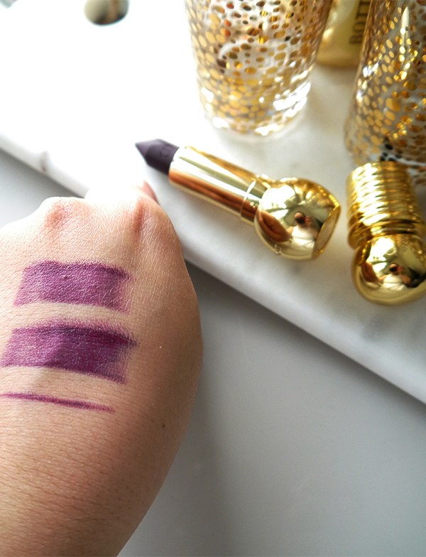Diorific Khol Lipstick 991 Bold Amethyst swatches photographed in natural light
