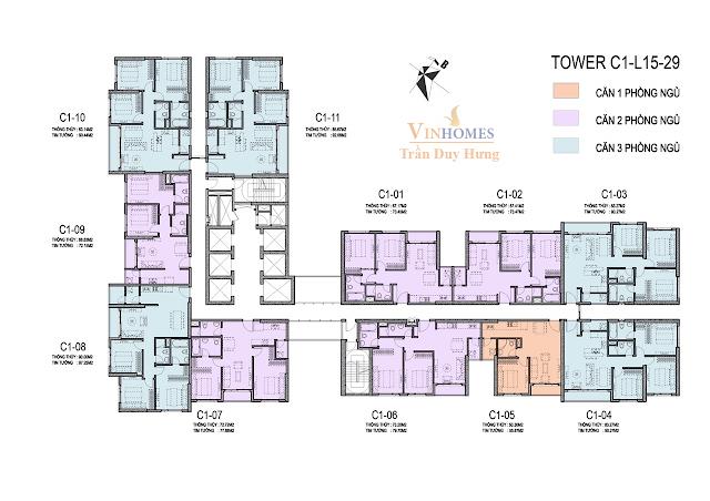 Mặt bằng tầng 15 - 29 tháp C1 Vinhomes D'. Capitale