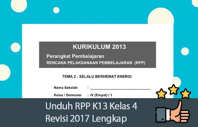 Unduh RPP K13 Kelas 4 Revisi 2017 Lengkap
