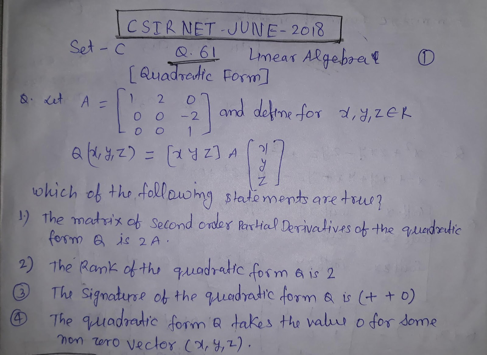 AMMATHS TUTORIALS : CSIR NET JUNE 2018 Q 61 Linear Algebra