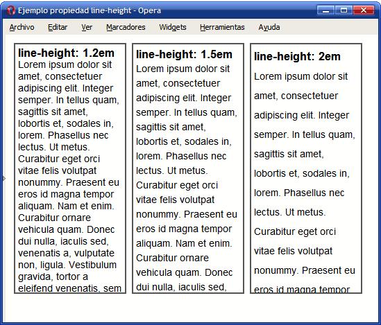 Ejemplo de propiedad line-height