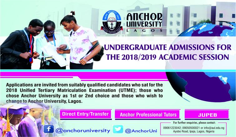 Anchor University Lagos (AUL) Undergraduate Admission