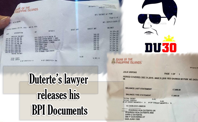 Duterte's lawyer releases his BPI Documents